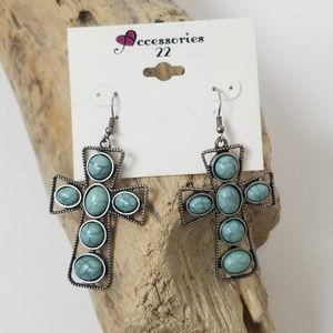 NWT earings Turquoise Cross Silver Southwest Boho